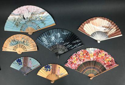 Sept éventails d'importation japonaise, début...