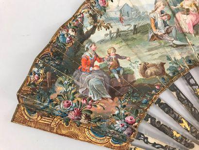 Récoltes et plaisirs champêtres, vers 1760-1770 Éventail plié, la feuille double...