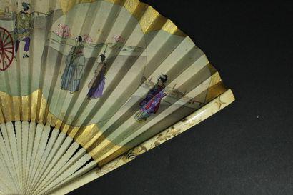 Costumes traditionnels, Japon, XIXe siècle  Éventail plié, la feuille double en...