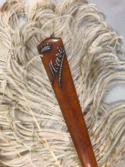 Pour Marie, vers 1880-1890  Éventail en plumes...