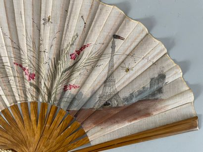 The Eiffel Tower, circa 1890-1900  Folded fan, the fabric sheet painted with foxgloves...