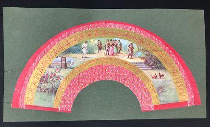 Ensemble de feuilles d'éventails et de sujets imprimés dont plusieurs compositions...