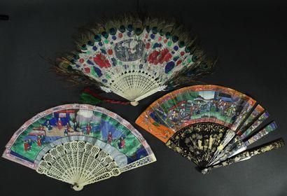 Trois éventails, Chine, XIXe siècle *Deux,...