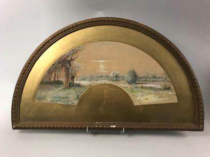 A.Morlot, Paysage, vers 1880  Feuille d'éventail...