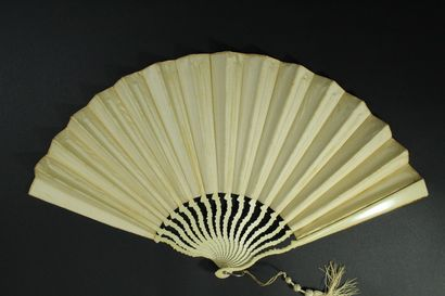 Two fans, 19th-20th century  Folded fans, beige velvet leaves painted one of roses....