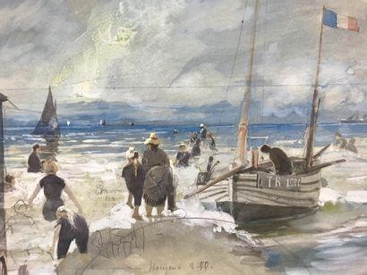 Les joies du bord de mer, fin XIXe siècle  Projet de feuille d'éventail sur papier...