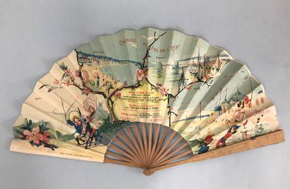 Chemins de fer de l'Etat, vers 1880  Éventail plié, la feuille double en papier...