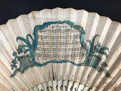 « J'adore une aimable bergère », vers 1730-1740  Rare éventail plié, la feuille...