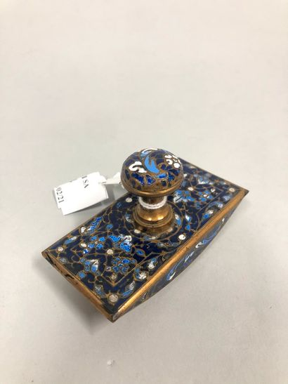 Tampon buvard miniature en métal cloisonné et émaux.  Travail russe, vers 1900.