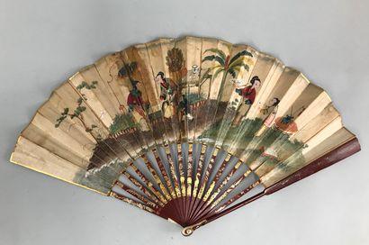 Esprit de Chine, vers 1780  Eventail plié,...