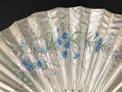 Blueberries, circa 1900  Folded fan, the satin leaf painted with a bunch of blueberries....