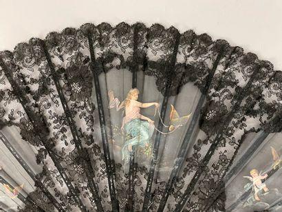 Les papillons et l'amour, vers 1890-1900  Grand éventail plié, la feuille en gaze...