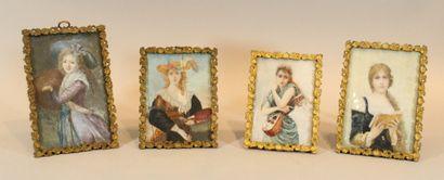 LEFEVRE Blanche (XIX)  Ensemble de quatre...