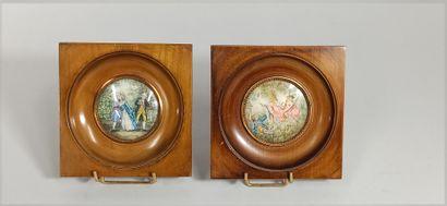Paire de miniatures représentant pour l'une...
