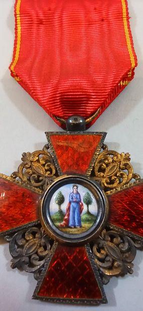 Croix de 4° classe de l'Ordre Impérial de Saint Anne.  Vermeil, ruban conforme....