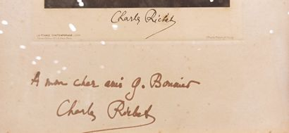 """1 photograph dedicated """"To my dear friend G. Bonnier"""" and signed Charles Richer"""