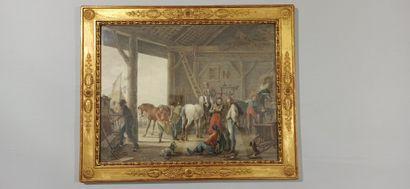 VINKELES, Johannes (?-c.1814)    L'écurie des hussards ou Le Maréchal Ferrant  Crayon...