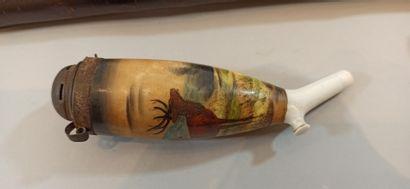 Deux pipes de réservistes allemands en porcelaine. L'une d'un réserviste du 27 Feld....