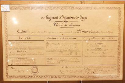 Brevet de relève de service du 28e Régiment...