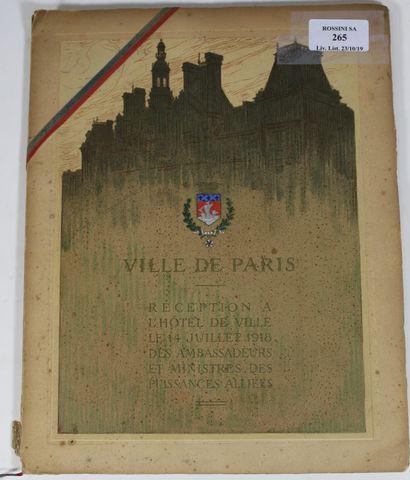 WW1 - Ville de Paris, plaquette éditée pour la réception à l'hôtel de ville le 14...
