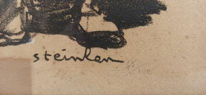 STEILEN Théophile Alexandre (1859-1923)  Scène représentant des militaires.  Lithographie...
