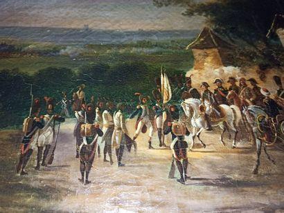 DELAPLACE, XIXe siècle,  État major sur les hauteurs d'un champ de bataille,huile...