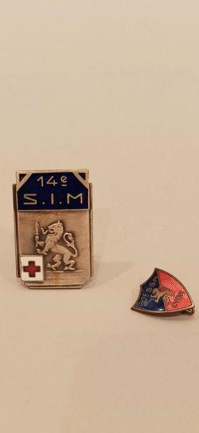 Deux insignes Service de Santé :  14e S.I.M....