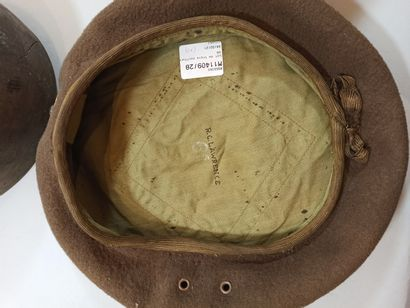 Set of three American headdresses: Two olive wool woollen troop style caps with...