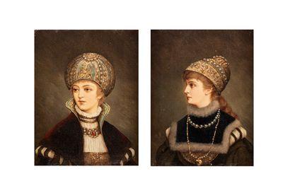 ÉCOLE XIXème  Princesses  paire d'huile sur...