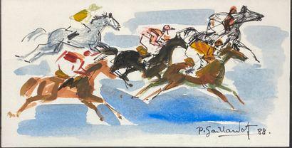 GAILLARDOT Pierre, 1910-2002  Études de courses...
