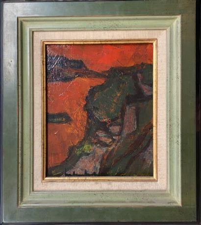 FRIBOULET Jef, 1919-2003  La falaise  huile...