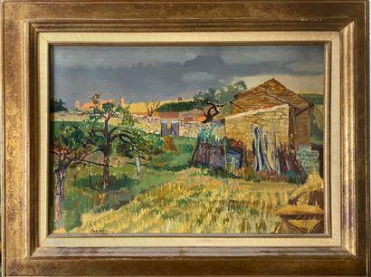 AUJAME Jean , 1905-1965  Paysage, 1950  huile sur toile, signée et datée en bas...