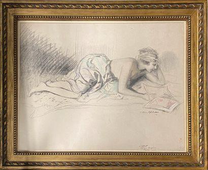 ABLETT William, 1877-1936,  Femme lisant,  fusain, estompe et crayon de couleurs...