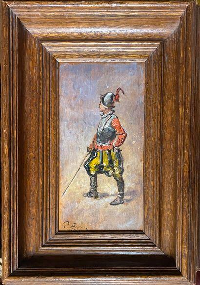 APPERT Georges, 1850-1934  Mousquetaires  paire d'huile sur panneaux, signés en...