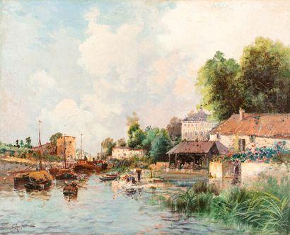 ANGLADE Gaston, 1854-1919  Bateaux et lavandières au bord d'un canal  huile sur...