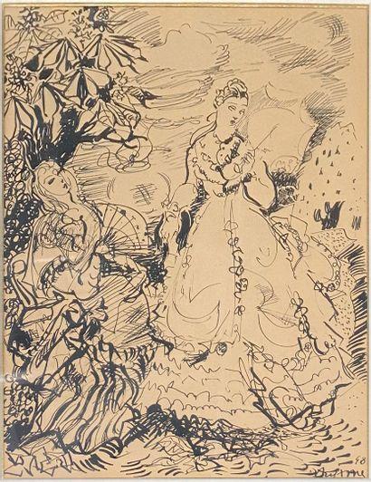 AUJAME Jean , 1905-1965  Femmes dans un jardin, 1948  encre sur papier (insolation),...