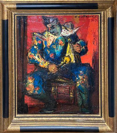 CAILLAUX Rodolphe, 1904-1989  Le clown  huile...
