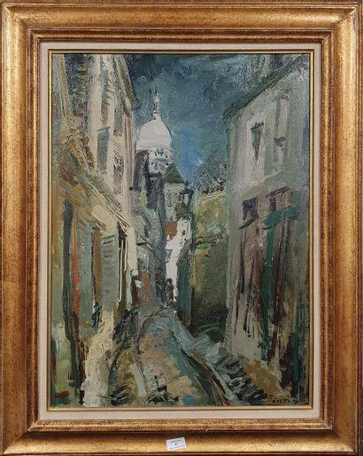 BERTIN Roger, 1915-2003  Ruelle à Montmartre vers le Sacré-Cœur  huile sur toile...