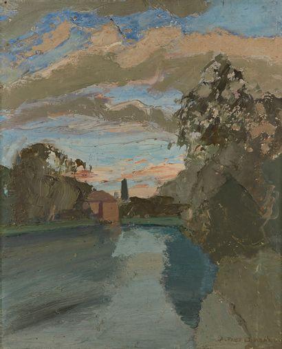 LOMBARD Alfred, 1884-1973  Rivière au crépuscule,...