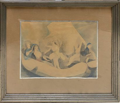 LAURENCIN Marie, 1883-1956  Cinq femmes sur un bateau  impression en noir rehaussée...