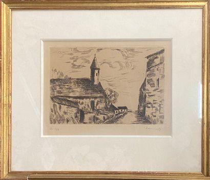 VLAMINCK Maurice de, 1876-1958,  L'église de Fessanvilliers, 1926,pointe sèche (insolation),...