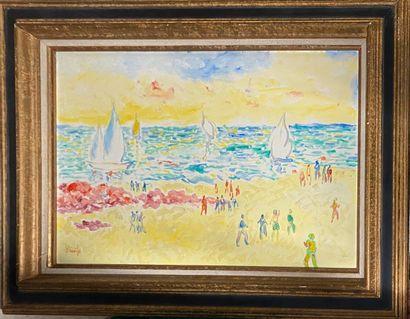 BOUVIER Armand, 1913-1997,  Jeux de plage,...