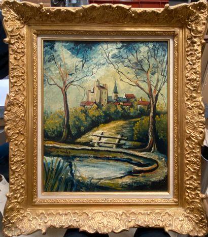 MACLET Élisée, 1881-1962  Vue d'un village...