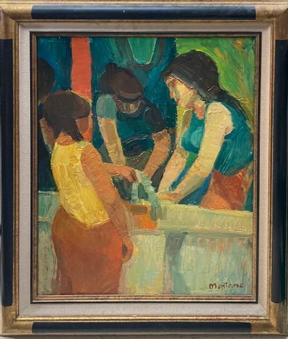 MONTANE Roger, 1916-2002  Gitanes au lavoir...