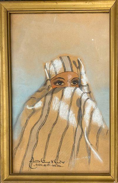 BENT SALAH Saïda, XXe siècle  Orientale au voile  plume, encre noire, aquarelle...