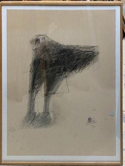 CÉSAR, 1921-1998  Poule  lithographie en couleurs, n°28/50 (insoaltion), signée...