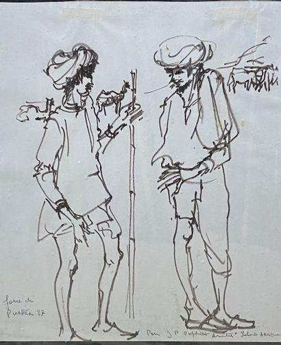 ARDISSONE Yolande, née en 1927  Étude de personnages, foire de Poushkan, 1987  dessin...