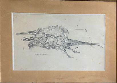 MINAUX André, 1923-1988  Les faisans  dessin...