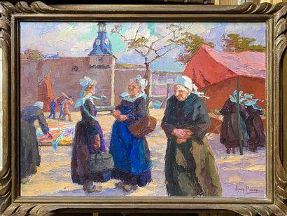 PIRIOU Mary, 1881-1956  Sur un marché de...