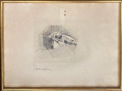 VILLON Jacques (1875-1963)  Crâne d'animal  Eau forte en noir signée en bas à gauche...